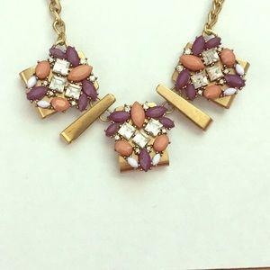 Purple Pink Gold Jewelmint Statement Necklace